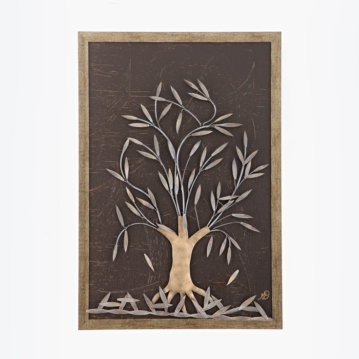 "Modern Wall Metal Ornament Handmade, Framed Art Decor, Olive Tree 25"" (64cm)"