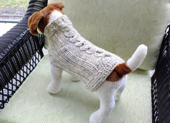 Dog Sweater Fisherman Cable Small 12.5 inches long Wool by jenya2