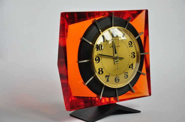 Old Vintage Eames era Russian USSR desk clock mantel MOLNIYA Orange by MagicClocksStore on Etsy