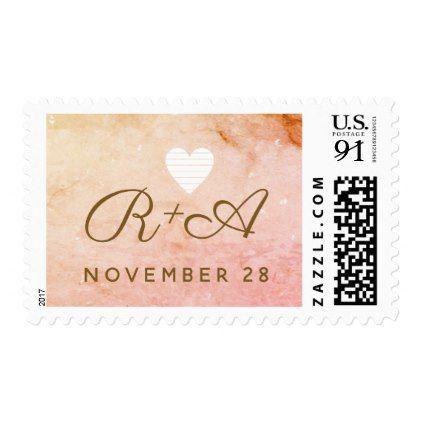 handwritten initials on pinkish marble . wedding postage - marriage gifts diy ideas custom