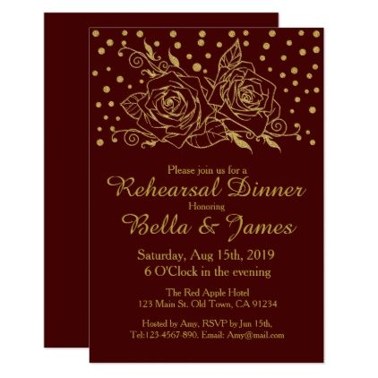 #Gold Floral Burgundy Wedding Rehearsal Invitations - #weddinginvitations #wedding #invitations #party #card #cards #invitation #floral