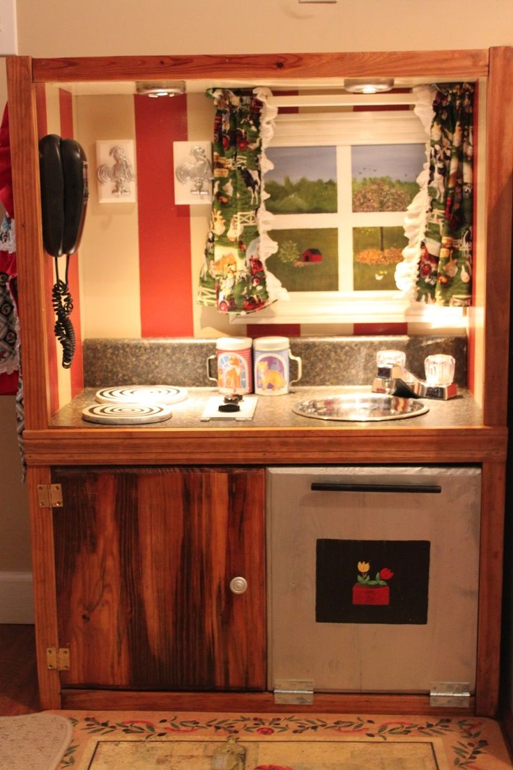 tv stand play kitchen | DIY Play Kitchen from a solid wood TV stand I found at a thrift store ...