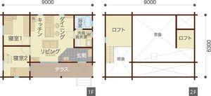【間取り図】モダンインテリアが新鮮なコンパクトな平屋ログ