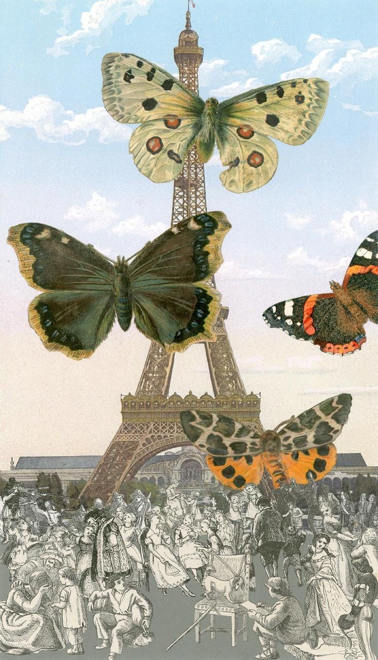 Paris-Butterflies I Silkscreen Print by Sir Peter Blake