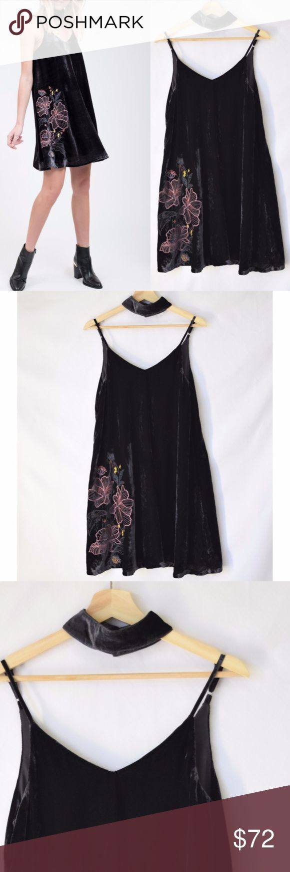 NWOT Anthro JOA Velvet Cami Dress Mini Charcoal New without tag J.O.A  -Embroidered velvet dress -Adjustable cami straps +comes with a velvet choker  Self: 100 % Polyester, Lining: 100 % Polyester Size S Color Charcoal No care label J.O.A Dresses Mini