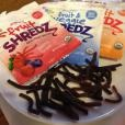 Healthy Food Find: Plum Kids Fruit Shredz! These 100% fruit snacks come in cute, portable pouches that are perfect for lunch boxes. Plus, they look just like strings--very fun for little hands to pick up and eat! Available in Berry'licious and Peach Peelz. 1 pack = 60 cals, 0g fat (0g sat fat), 16g carbs, 14g sugar, 1g fiber, 0g protein, 5mg sodium