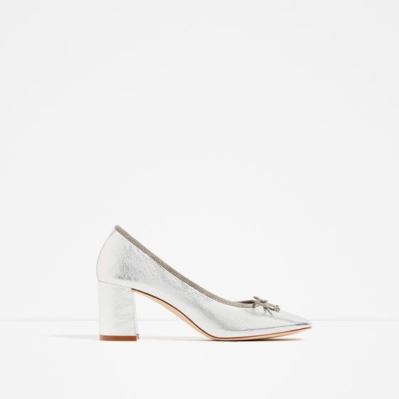 ZARA - WOMAN - LAMINATED LEATHER BALLET FLATS WITH HEEL