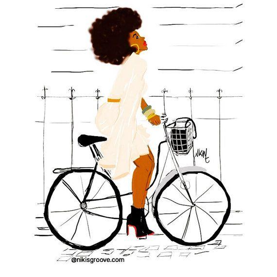 Black girl ride Bike with class par Nikisgroove sur Etsy