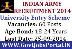 INDIAN ARMY RECRUITMENT UNDER UNIVERSITY ENTRY SCHEME 2014