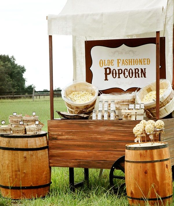 Fun Buffet arrangement for an outdoor party. Sis loves caramel corn so much I thought something like this might be fun