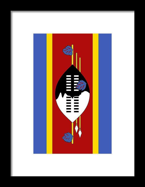 Southern Africa Framed Print featuring the mixed media Swaziland Flag 2 by Otis Porritt