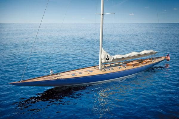 """Spirit Yachts Super-J. A modern re-creation of the J-class """"Ranger"""", which defended the Americas Cup in 1937. Wood/epoxy composite, stainless steel frame, with carbon-fiber mast and rigging. 139 feet of awesome."""