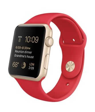 Apple Watch Sport - Gold Aluminum Case with [PRODUCT] Red Sport Band (38mm or 42 mm)   Only Available until February 22, in China, Hong Kong, Taiwan, Singapore and Malaysia.