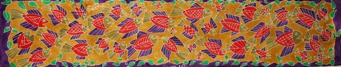 """School of Fish"" oblong scarf From RaRa & The Women Artists of Matènwa, Haiti - Store located in Wellfleet, MA or order online."