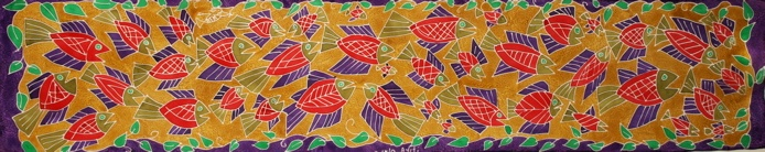 """School of Fish"" oblong scarf From RaRa & The Women Artists of Matènwa, Haiti - Store located in Wellfleet, MA or order online."