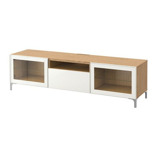 BESTÅ TV bench - oak effect/Selsviken high-gloss/white clear glass, drawer runner, soft-closing - IKEA