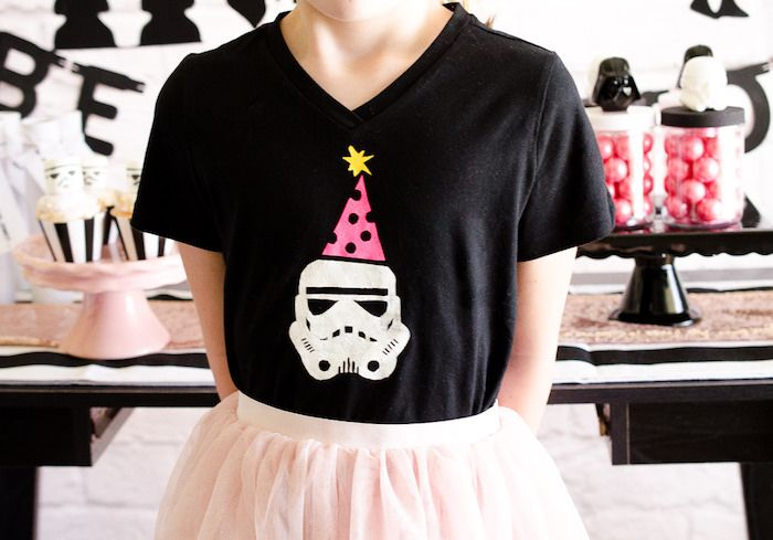 Girly stormtrooper t-shirt from a Pink and Sparkly Star Wars Party on Kara's Party Ideas | KarasPartyIdeas.com (6)