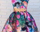 Vestido Infantil Festa Floral Faixa Bege
