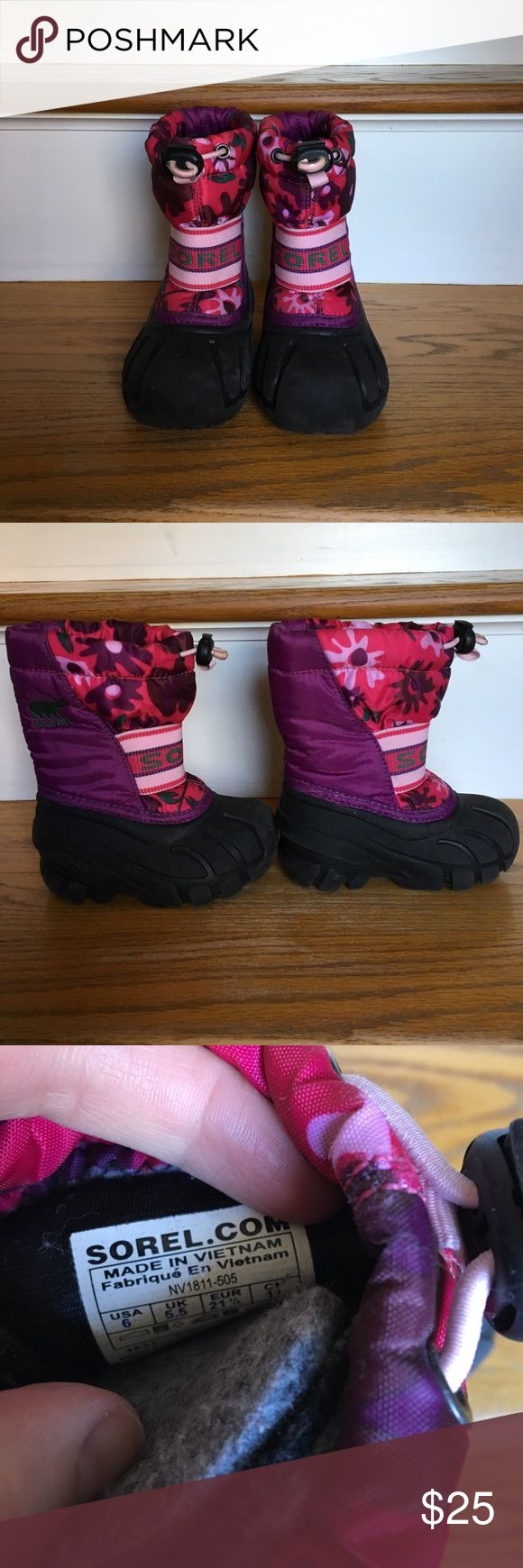 Sorel snow boots Pink & purple little girls snow boots in excellent condition! These come with warm liners. Sorel Shoes Rain & Snow Boots
