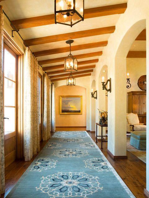 Southwest Rugs Hall Mediterranean With Arched Doorway Beamed Ceiling Blue  Area Rug Pendant Light