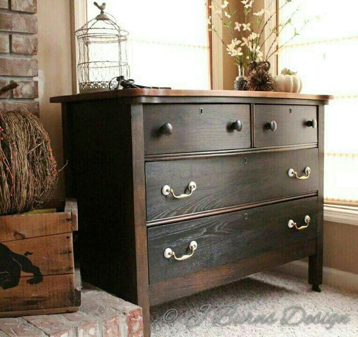 Antique Oak Dresser General Finishes black gel stain, Pecan and Nutmeg Oil based stains D Lawless Hardware pulls www.facebook.com/jburnsdesign