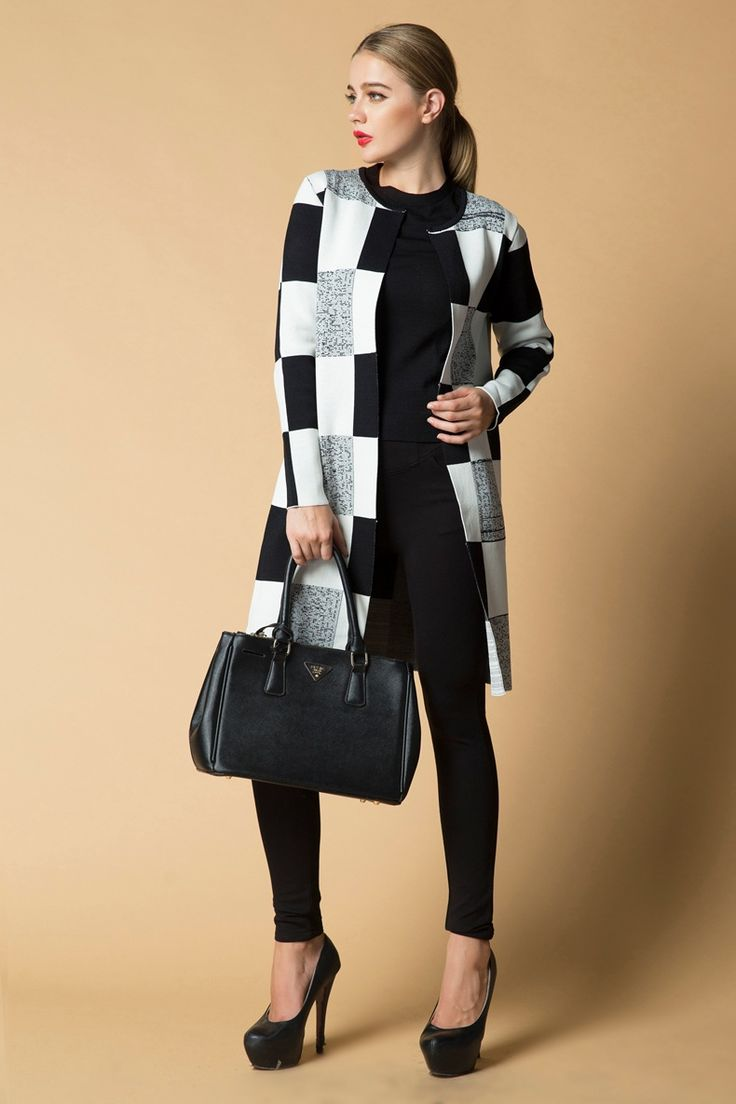 shop for Knitting Straight Checkered Contrast color Women Coat and more for everyday cheap prices at Lalalilo.com - Your Online Womens Clothes Store