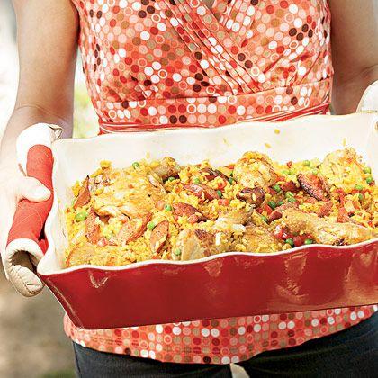 Chicken and Sausage Paella Recipe | Spoonful- My favorite paella recipe I've found so far... :)