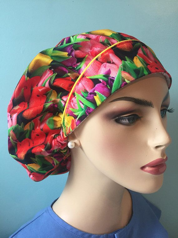 New-Lilly Pulitzer inspired   Tulips  Surgical Scrub hat   bouffant hat   bouffant ponytail hat  European surgical hat   made to order 3709d450b7d