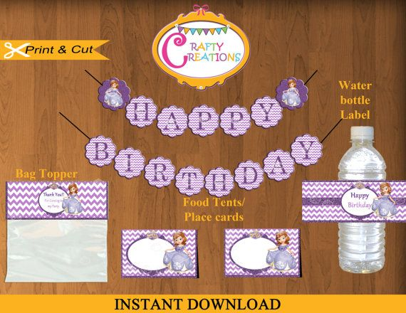 Princess Sofia the First Printable Party Package -Disney Sofia the First Party Kit - Sofia Party Decor -Princess Birthday- INSTANT DOWNLOAD by CraftyCreationsUAE, $10.00