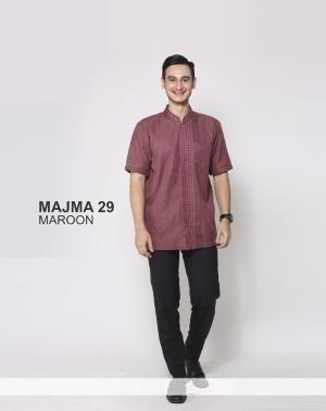 Baju Kemaja Pria Koko Majma 29 Maroon - Size S - Ramadhan Sale