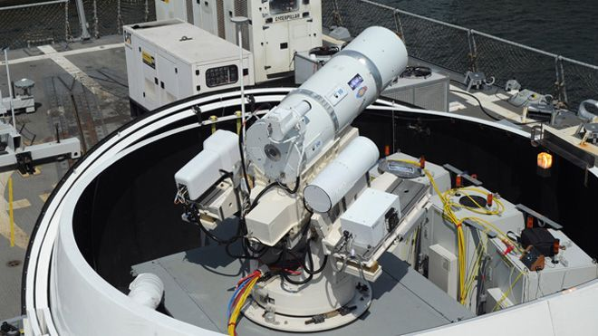 The Craziest Sci-Fi Fantasies That Got Closer to Reality This Year | Speaking of Star Trek, anyone for photon cannons? This year the US Navy approved the first combat-ready laser cannon. After performing brilliantly in trials, the skipper of the amphibious dock transport vessel USS Ponce is authorized to use the weapon—called LaWS—to defend his ship.   US Navy  | WIRED.com