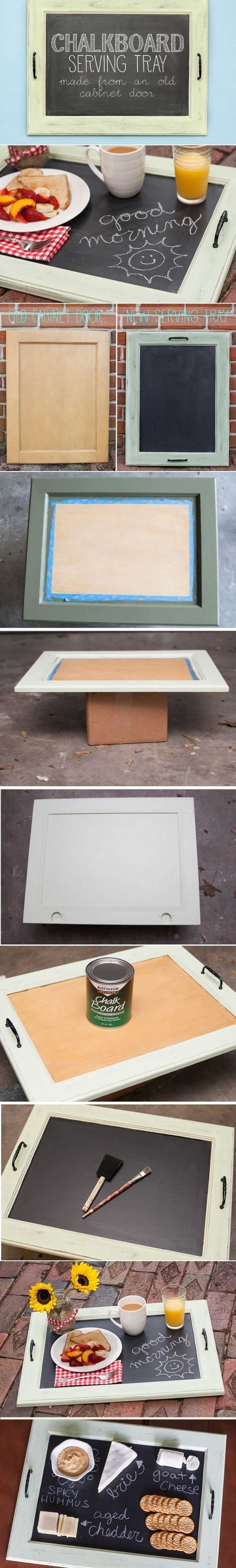 DIY Chalkboard Serving Tray--I could see my husband making this.
