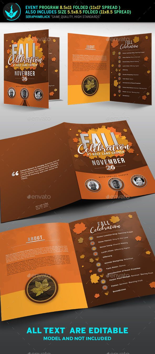 fall celebration church program template informational brochures