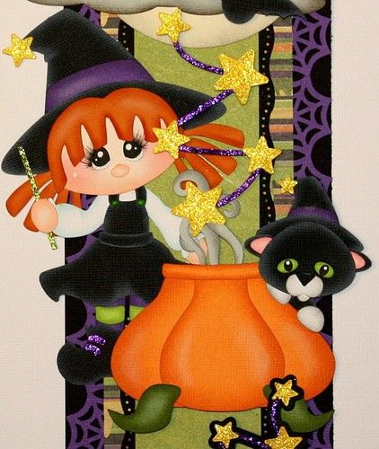 """""""Witches Brew"""" vertical border for scrapbook pages."""