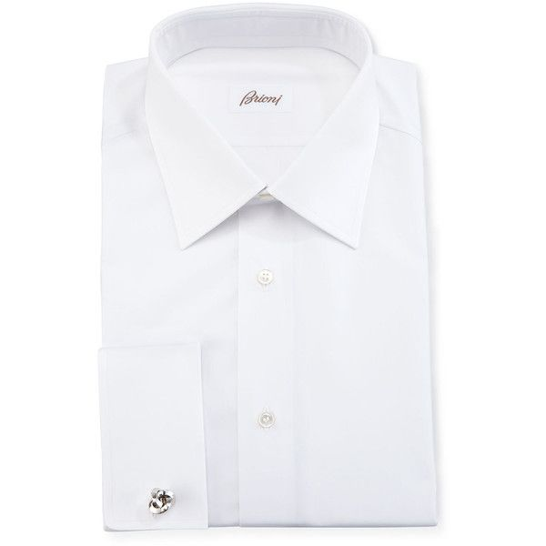 Brioni Wardrobe Essential French-Cuff Dress Shirt (634,980 KRW) ❤ liked on Polyvore featuring men's fashion, men's clothing, men's shirts, men's dress shirts, white, mens white shirts, mens cotton dress shirts, mens dress shirts, mens french cuff shirts and mens french cuff dress shirts