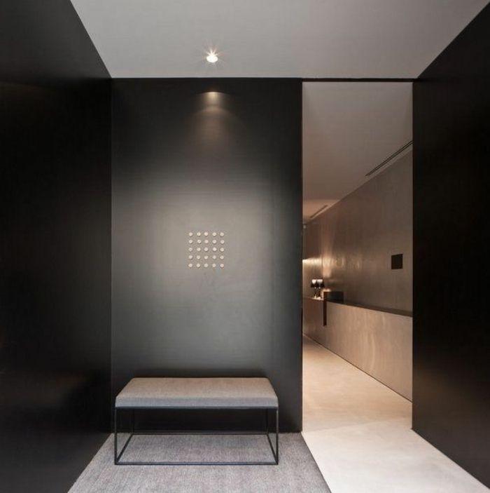 jolie porte à galandage noire pour separer les chambres