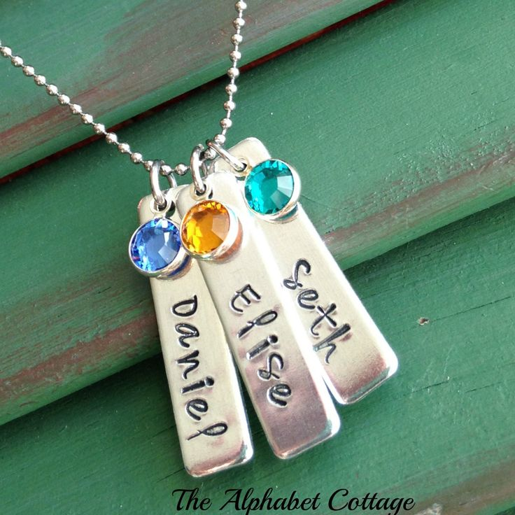 Mother's Bar Necklace with Children's Names Birthstones- Mom Necklace- Grandmother Gift- Name  Bar Necklace- Kid's Names-Mom of Twins Gift by TheAlphabetCottage on Etsy https://www.etsy.com/listing/217571651/mothers-bar-necklace-with-childrens