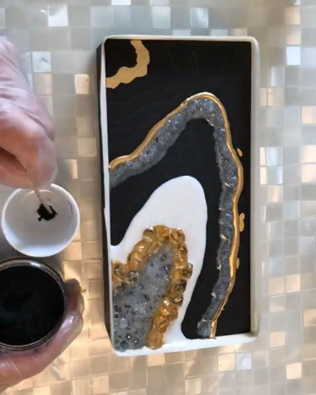 Black resin geode made with MEYSPRING pigments by Susan Day