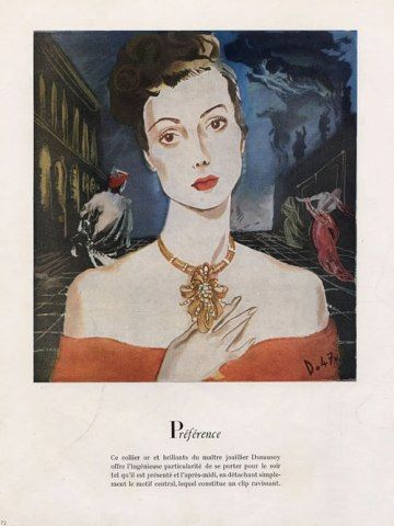 Dusausoy gold and diamond necklace, 1947. Illustration by André Delfau.