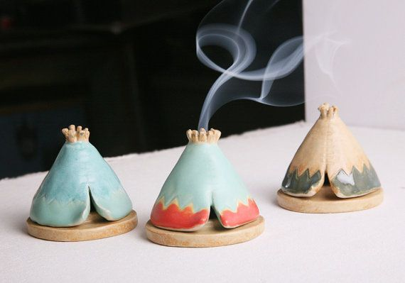 Incense Burner TeePee that smokes Ceramic Mint von JessicaHicklin