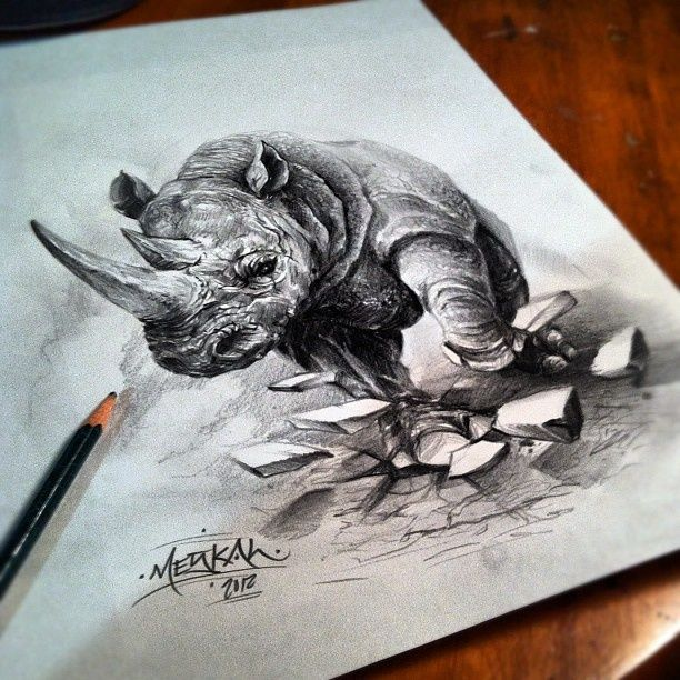 Top Pin Rhino Tattoos Images for Pinterest Tattoos