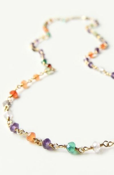 Arista Necklace with Mixed Semi-Precious Stones Layering Necklace Summer