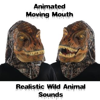 T-REX TYRANNOSAURUS DINOSAUR ANIMATED WILD ANIMAL MASK Moving Mouth Movable Jaw with Push Button Activated Realistic Sound Effects Faux Lizard Skin Furry Furries Fandom ADULT Full Over Head Fancy Dress Halloween Cosplay Costume Party Accessory-VIDEO! http://www.horror-hall.com/Moving-Mouth-ANIMATED-ANIMAL-MASK-w-SOUND-Movable-Jaw-T-REX-DINO-HH-MR-039168.htm