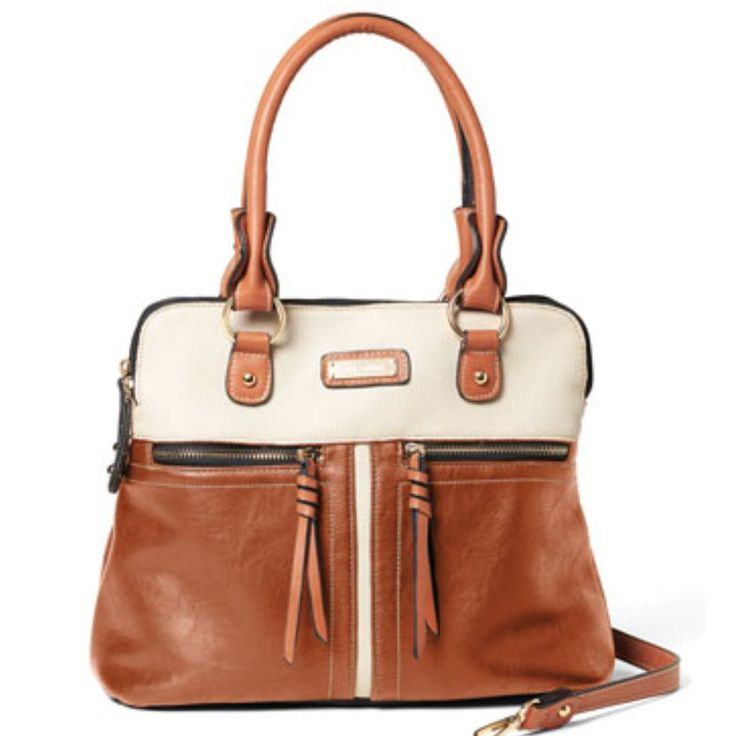 Sophisticated satchel with color block style. Two main storage compartments and multiple pockets. Dual top handles and detachable strap. Separate gun compartment in back. Includes to holsters. Gold-to