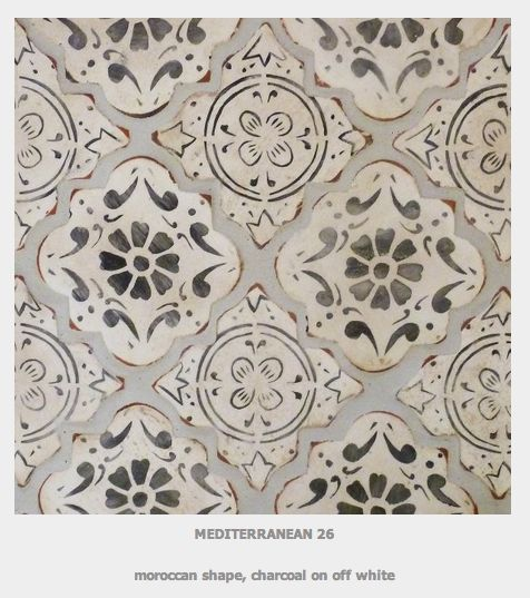Tabarka MEDITERRANEAN 26  moroccan shape charcoal on off white