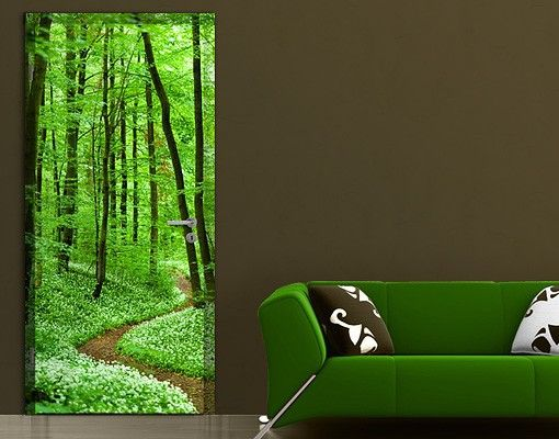 Selbstklebende Tapete Wald : Selbstklebende T?rtapete – Wald Tapete Romantischer Waldweg
