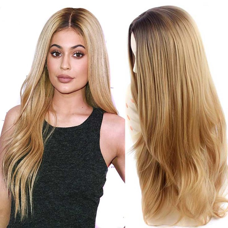 """Blonde Ombre Wig  jenner False Hair Synthetic Wigs for Women Sale 32"""" Long Natural Cheap Hair  Blonde Wig Female Hair"""