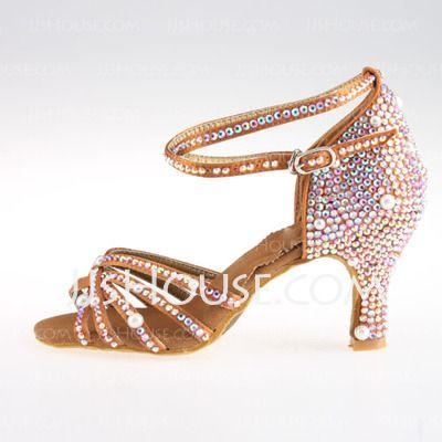 Women's Satin Heels Sandals Latin Ballroom Salsa Wedding Party With Rhinestone Ankle Strap Dance Shoes (053018639)