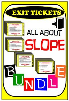 Exit Ticket - BUNDLE All about slope (16 Exit Tickets = 64