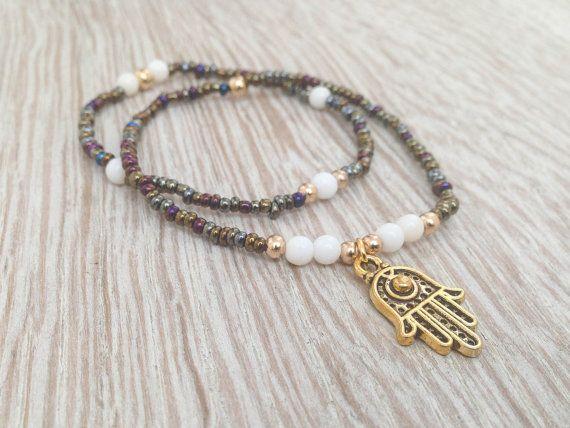 Boho bracelet set Friendship bracelets Hamsa bracelet by Olive1990, €9.60